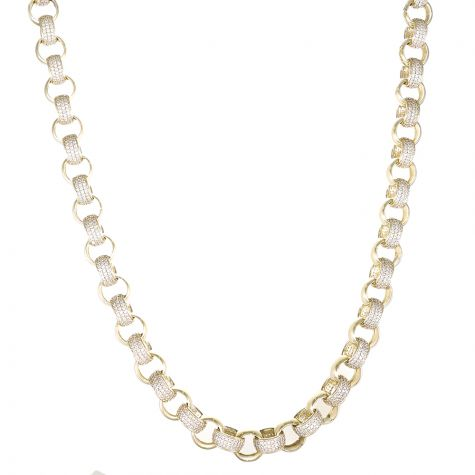 "9ct Yellow Gold Heavy Long Gem-set Belcher Chain - 30"" - 11mm"