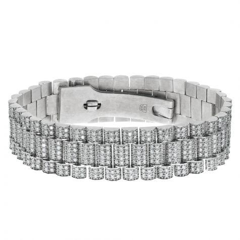 Custom Rolex Style 9ct White Gold 13ct VS Diamond Presidential Bracelet