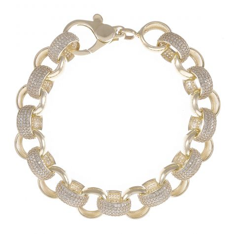 9ct Yellow Gold Gem-Set Round Belcher Bracelet - 12mm - 9.25""