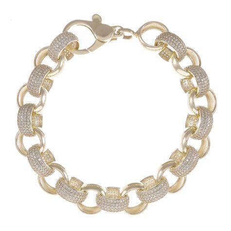 """9ct Yellow Gold Gem-Set Round Belcher Bracelet - 16mm - 9.5"""""""
