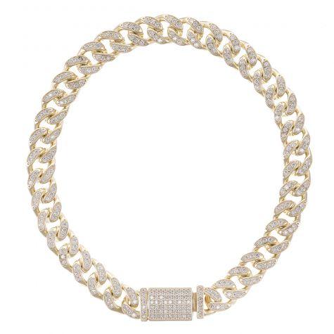 "NEW 9ct Gold Gem - Set Miami Cuban Link Bracelet - 8mm - 8.5"""