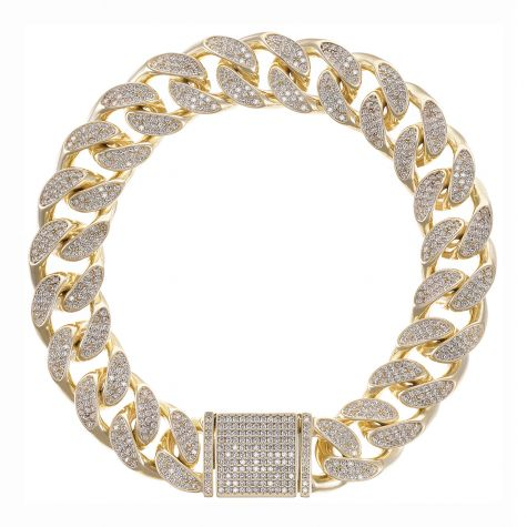 NEW 9ct Gold Gem-Set Maimi Cuban Link Bracelet - 14mm - 9""