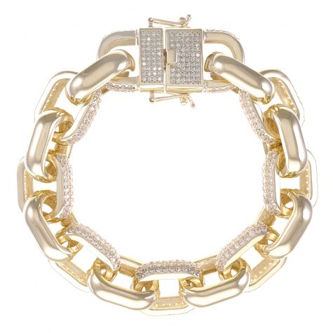 9ct Yellow Gold Gem-Set Oval Belcher Bracelet - 15mm - 8.25""