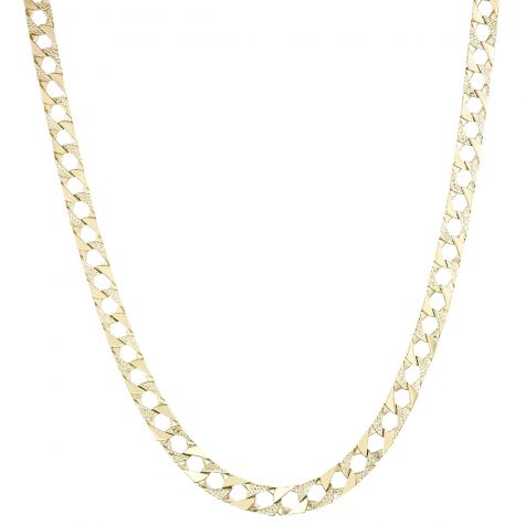 """Solid 9ct Yellow Gold Textured Square Curb Chain - 22""""  - 9mm"""