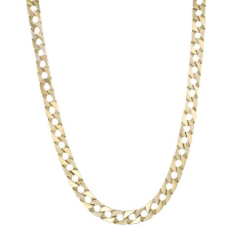 Solid 9ct Yellow Gold Textured Square Curb Chain - 10mm - 22""