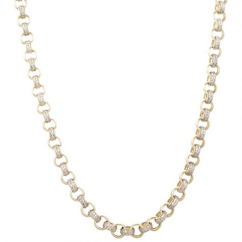 "9ct Yellow Gold Gem-set Round Belcher Link Chain - 18"" - 7.5mm"