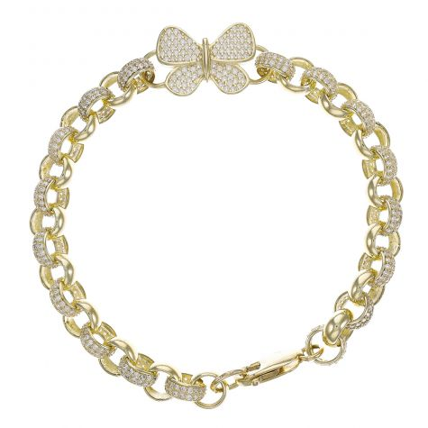 "9ct Yellow Gold Gem-Set Butterfly Belcher Bracelet - 7.5mm - 8"""