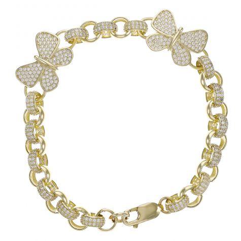 "9ct Gold Gem-Set Butterfly Belcher Bracelet - 7.5mm - 6"" -Babies"