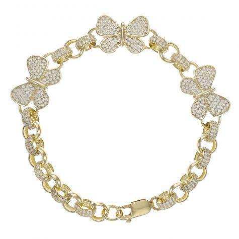 "9ct Gold Gem-Set Butterfly Belcher Bracelet - 7.5mm -6 "" -Child"