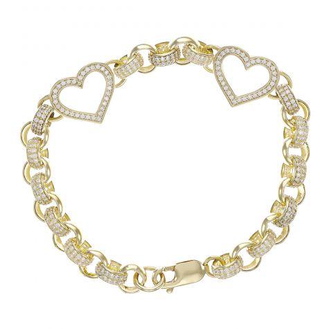 "9ct Gold Child's Gem-Set Double Heart Belcher Bracelet-7.5mm-6.5"""