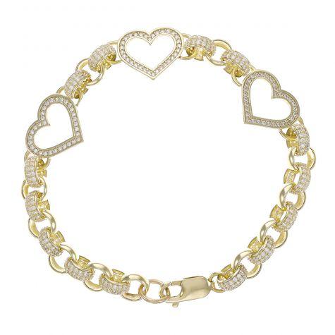 """9ct Gold Junior Gem-Set Triple Heart Belcher Bracelet -7.5mm-7.5"""""""