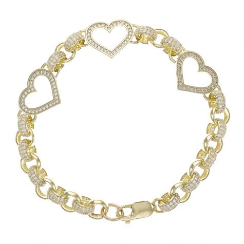 9ct Yellow Gold Gem-Set Heart Belcher Bracelet - 7.5mm - 8""