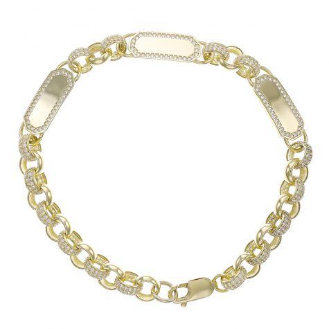 """9ct Gold Gem-Set Triple ID Belcher Bracelet - 7.5mm - 6.5""""- Childs"""