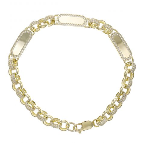 "9ct Gold Gem-Set Triple ID Belcher Bracelet - 7.5mm -8.5"" - Men's"