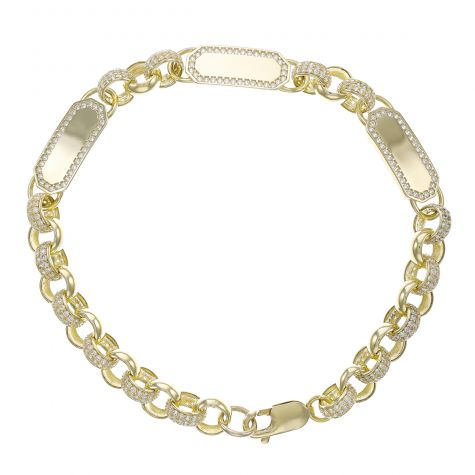 "9ct Gold Gem-Set ID Belcher Bracelet - 7.5mm - 6. "" - Child"