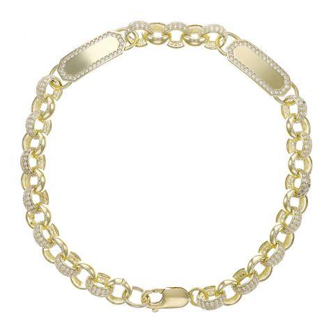 "9ct Gold Gem-Set Double ID Belcher Bracelet - 7.5mm - 9"" - Mens"
