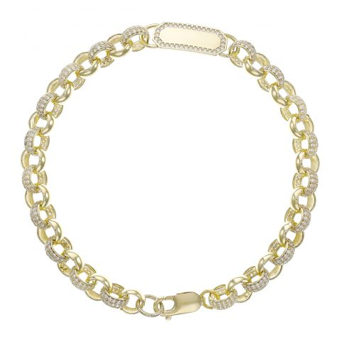 "9ct Yellow Gold Gem-Set ID Belcher Bracelet -7.5mm - 6"" -Baby"