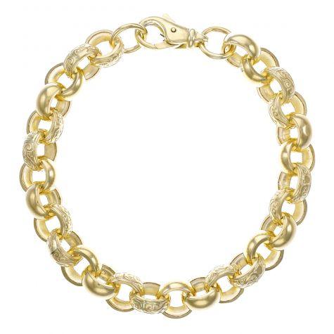 """Heavy 9ct Gold Gents Textured Belcher Bracelet - 9.5""""  -12.5mm"""