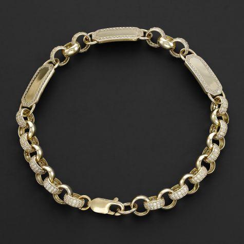 """9ct Gold Gem-Set Triple ID Belcher Bracelet - 7.5mm - 9"""" - Mens"""