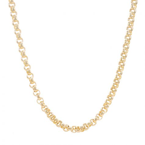 9ct Yellow Gold Polished Round Link Belcher Chain - 6 mm - 24""