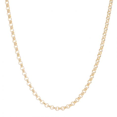 """9ct Yellow Gold Polished Round Link Belcher Chain - 28"""" - 4 mm"""