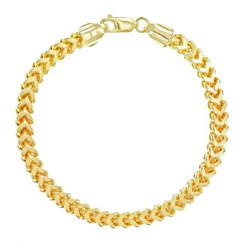 "9ct Yellow Gold Italian Franco Foxtail Bracelet Small- 8"" - 6mm"