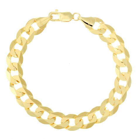 "9ct Gold Solid Italian Bevelled Edge Curb Bracelet - 10mm - 8.5"""