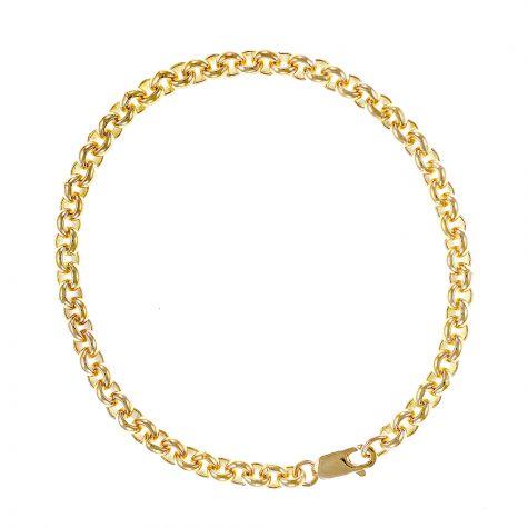 """9ct Gold Solid Tight Link Belcher Bracelet -8.75"""" - 4mm - Men's"""