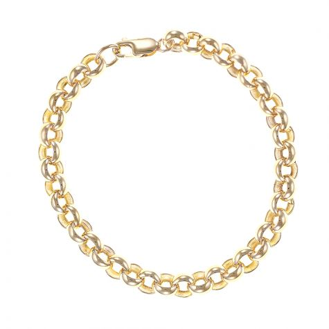 "9ct Yellow Gold Gents Polished Belcher Bracelet - 8.25"" - 7.5mm"