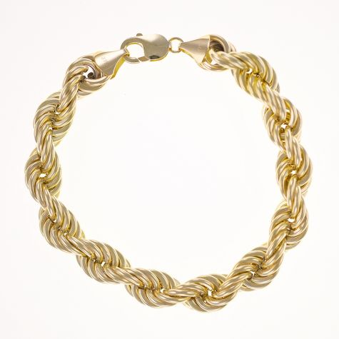 9ct Yellow Gold Italian Thick Rope Bracelet - 12mm - 8""