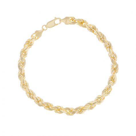 "9ct Yellow Gold Italian Diamond Cut Rope Bracelet - 8 "" - 6mm"