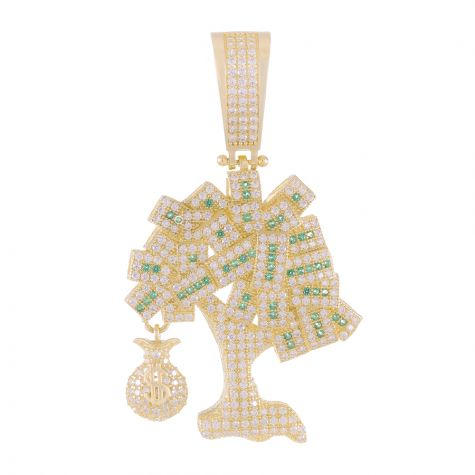 9ct Yellow Gold Iced Out Cubic Zirconia Money tree Pendant