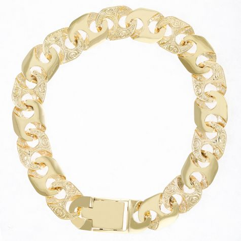 Solid 9ct Yellow Gold Solid Ornate Mariner Bracelet - 8""