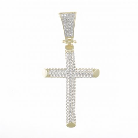 Solid 9ct Yellow Gold polished Gemset Iced Out Cross Pendant