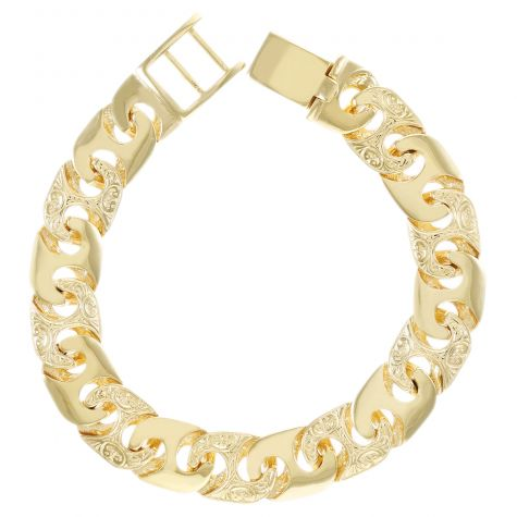 Heavy 9ct Yellow Gold Solid Patterned Mariner Bracelet - 8.75""
