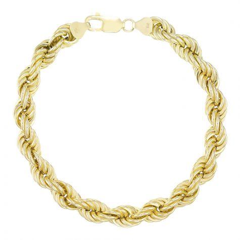 "9ct Yellow Gold Gents Italian Rope Bracelet - 9mm - 9"""