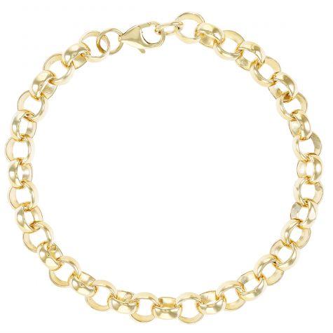 """9ct Gold Solid Polished Link Belcher Bracelet 8mm - 6.5"""" - CHILDS"""