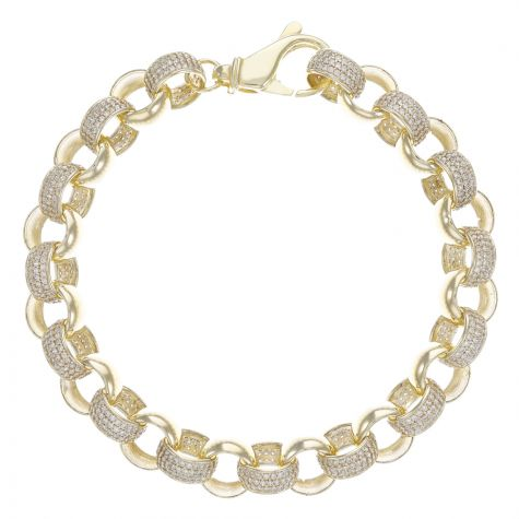 9ct Yellow Gold Heavy Gem-Set Round Belcher Bracelet - 11mm - 8""