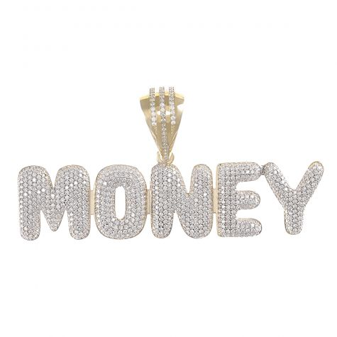 9ct Yellow Gold Iced Out 3D Bubble Letters 'Money' Pendant