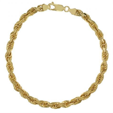"""9ct Yellow Gold Gents Solid Italian Rope Bracelet - 5mm - 9"""""""