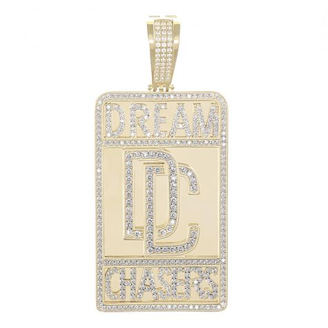 Solid 9ct Yellow Gold Gemset Iced Out 'Dream Chasers' Pendant