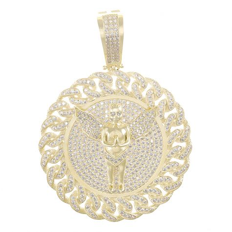 9ct Yellow Gold Round Iced Out Medallion Cherub Pendant