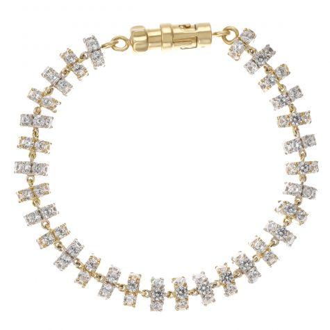 "Heavy 9ct White & Yellow Gold Gem Set Tennis Bracelet - 9.5"""