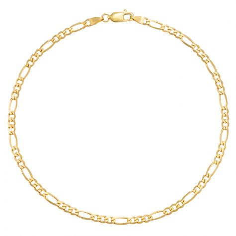 """9ct Yellow Gold Italian Figaro Design Anklet - 3.25mm - 10"""""""