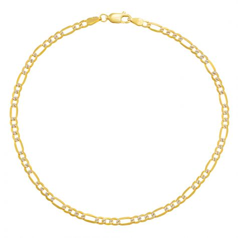 """9ct Yellow & White Gold Figaro Design Anklet - 3.5mm - 10"""""""