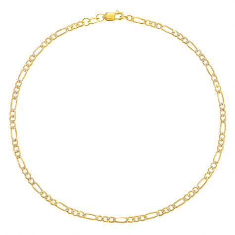 """9ct Yellow & White Gold Figaro Design Anklet - 2.5mm - 10"""""""