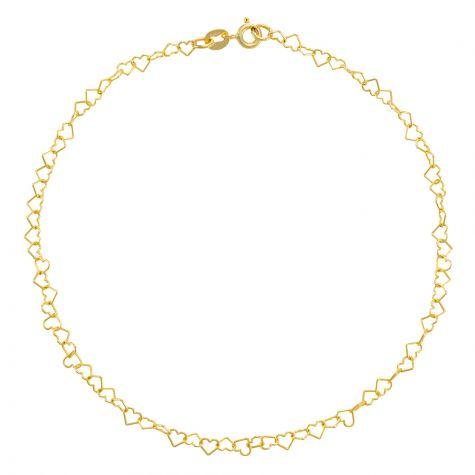 """9ct Yellow Gold Polished Heart Design Anklet - 4mm - 10"""""""