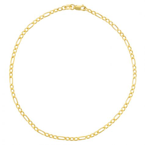 """9ct Yellow Gold Hollow Figaro Design Anklet - 2.25mm - 10"""""""