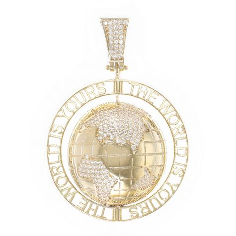 9ct Yellow Gold Iced Out Gemset 3D Spinning World Pendant