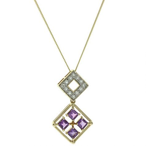 Pre-Owned 9ct Gold Fancy Amethyst & White Topaz Necklace - 16""